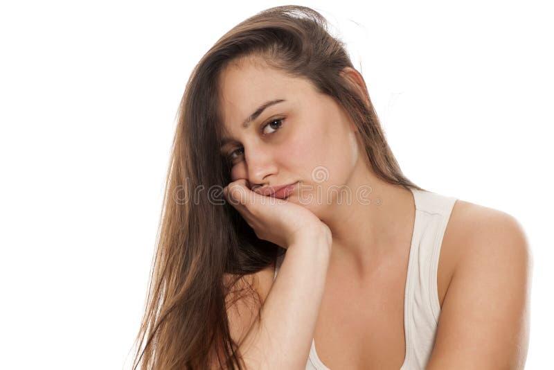 Mujer aburrida imagenes de archivo