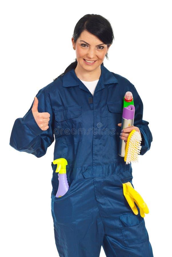 Mujer Acertada Del Trabajador De La Limpieza Imagen de archivo