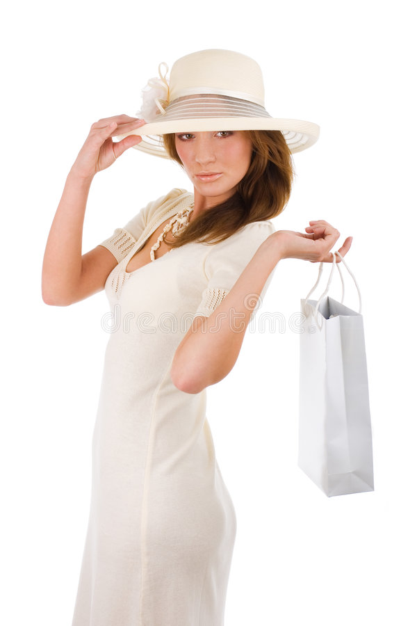 Mujer acertada en hacer compras blanco de los dres imagenes de archivo