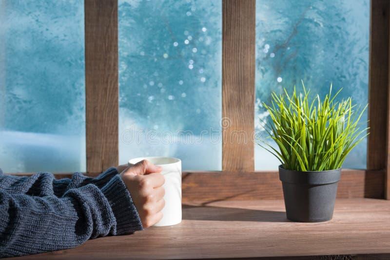 Mujer acogedora con suéter de lana caliente de punto de invierno en un umbral de ventana fotos de archivo libres de regalías