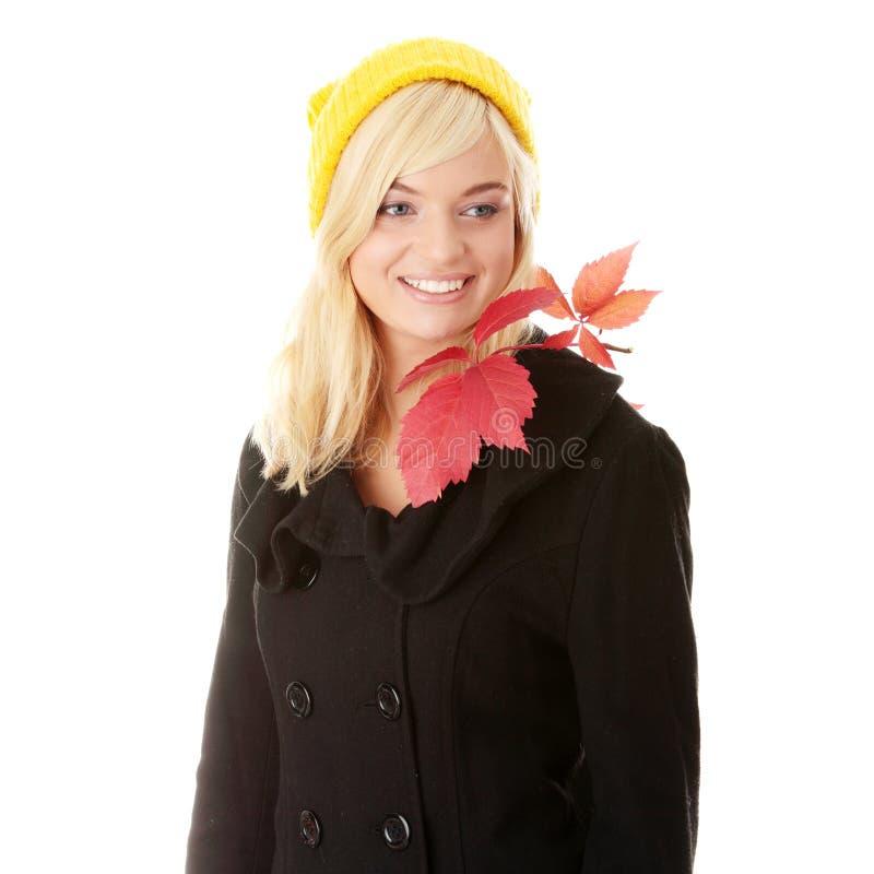 Mujer adolescente del otoño fotografía de archivo