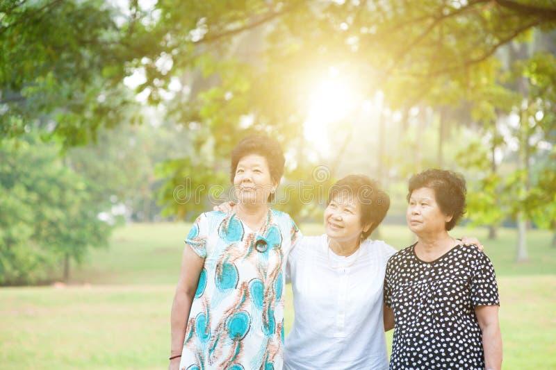 Mujer adulta mayor al aire libre fotos de archivo