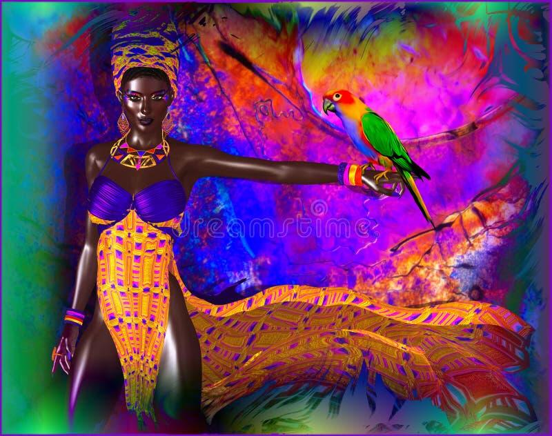 ¡Mujer africana con el loro en una explosión de colores! stock de ilustración