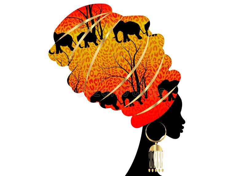 Mujer africana de la silueta hermosa del retrato en el turbante tradicional, abrigo africano, impresión tradicional del dashiki,  ilustración del vector