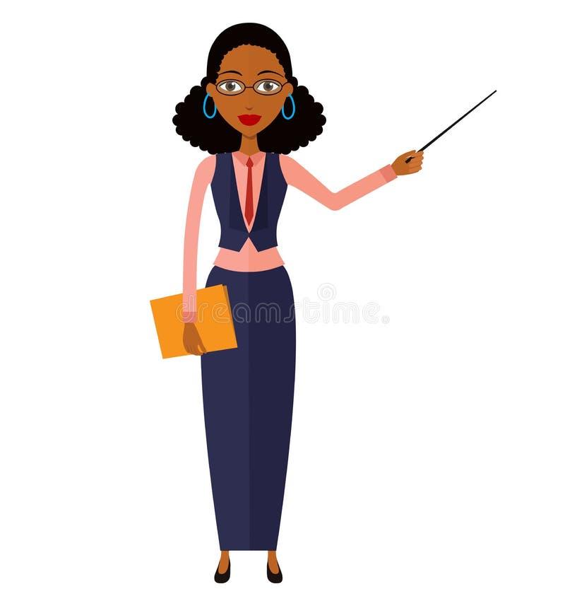 Mujer africana del profesor del negocio que presenta algo Carbón de leña del profesor particular stock de ilustración