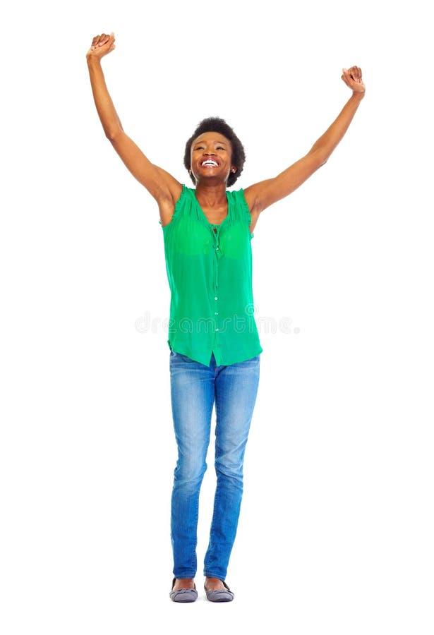 Mujer africana feliz fotografía de archivo libre de regalías