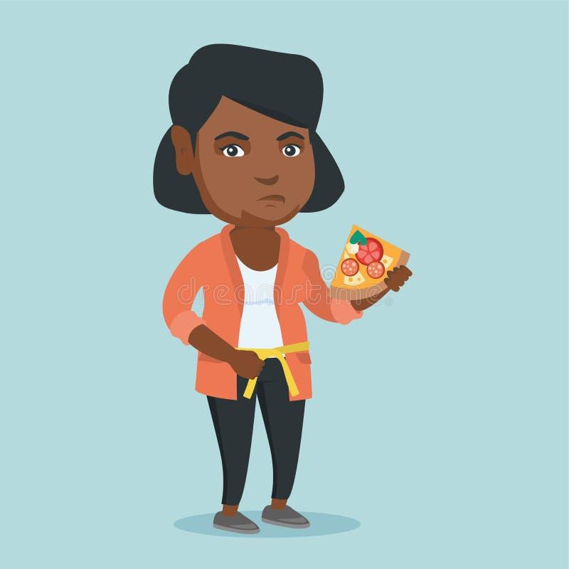 Mujer africana gorda con cintura de medición de la pizza libre illustration