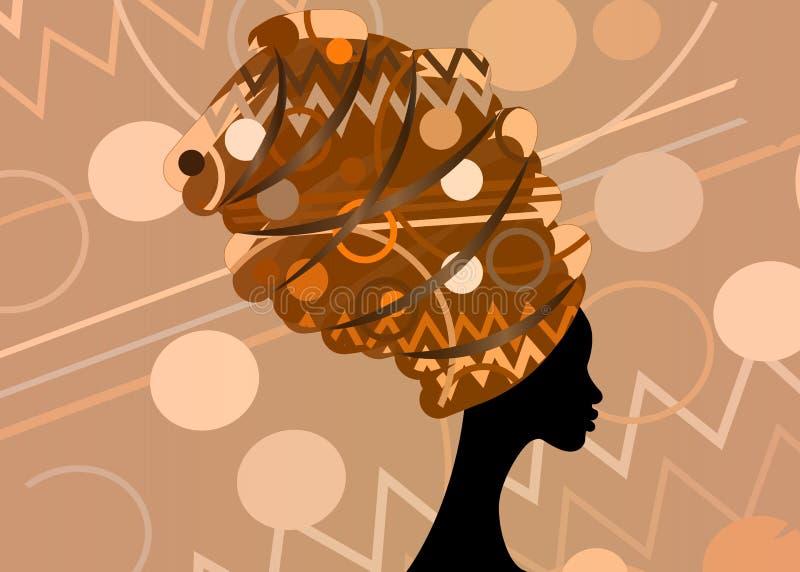 Mujer africana hermosa del retrato en el turbante tradicional, abrigo de la cabeza de Kente, impresión del dashiki, mujeres afro  stock de ilustración
