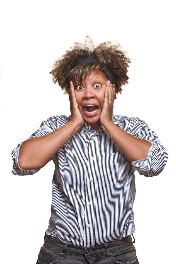 Mujer africana joven sorprendida fotografía de archivo libre de regalías