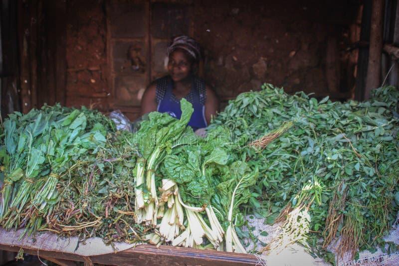 Mujer africana que vende verdes en el contador en una de las ciudades más pobres de África imagen de archivo libre de regalías