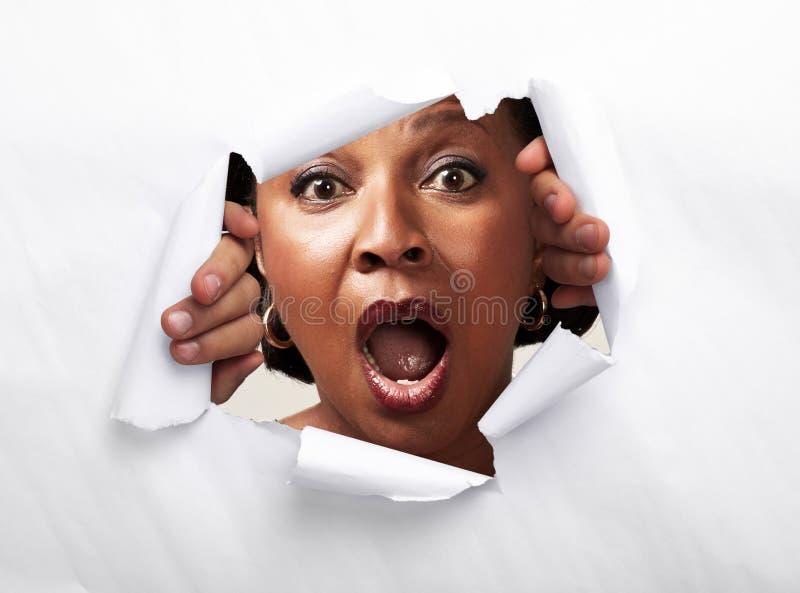 Mujer afroamericana alegre feliz imágenes de archivo libres de regalías