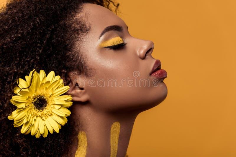 Mujer afroamericana elegante con maquillaje artístico y gerbera en el sueño del pelo imagen de archivo