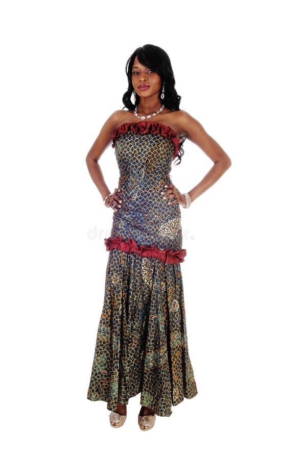 Mujer Afroamericana En Vestido Africano Foto de archivo - Imagen de ...