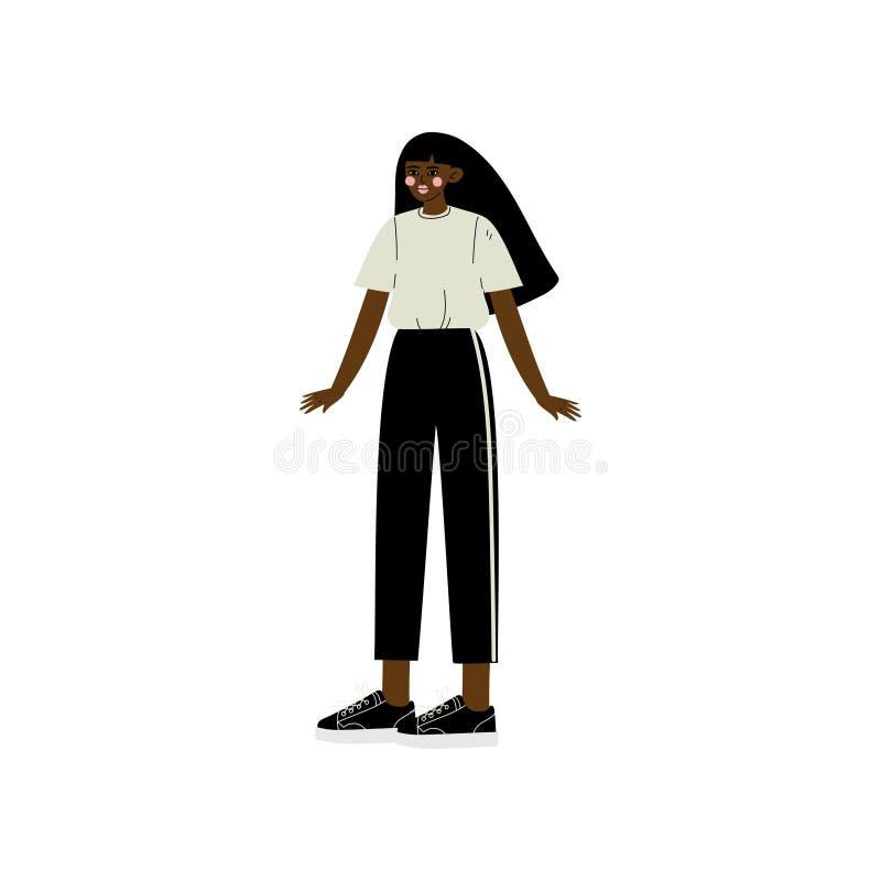 Mujer afroamericana hermosa con el pelo largo, diversidad de la belleza, ejemplo positivo del vector del cuerpo stock de ilustración