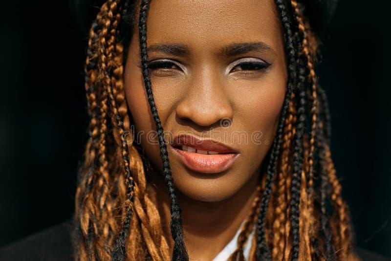 Mujer afroamericana impudente Pelo con estilo foto de archivo