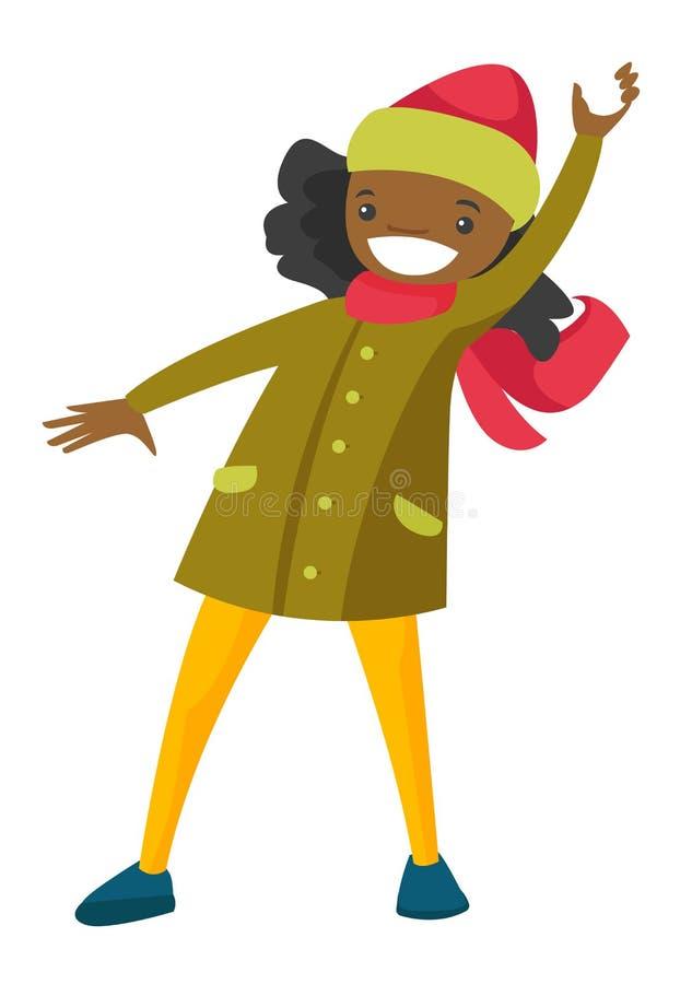 Mujer afroamericana que juega lucha de la bola de nieve ilustración del vector