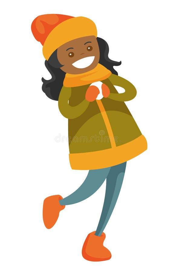 Mujer afroamericana que juega lucha de la bola de nieve stock de ilustración