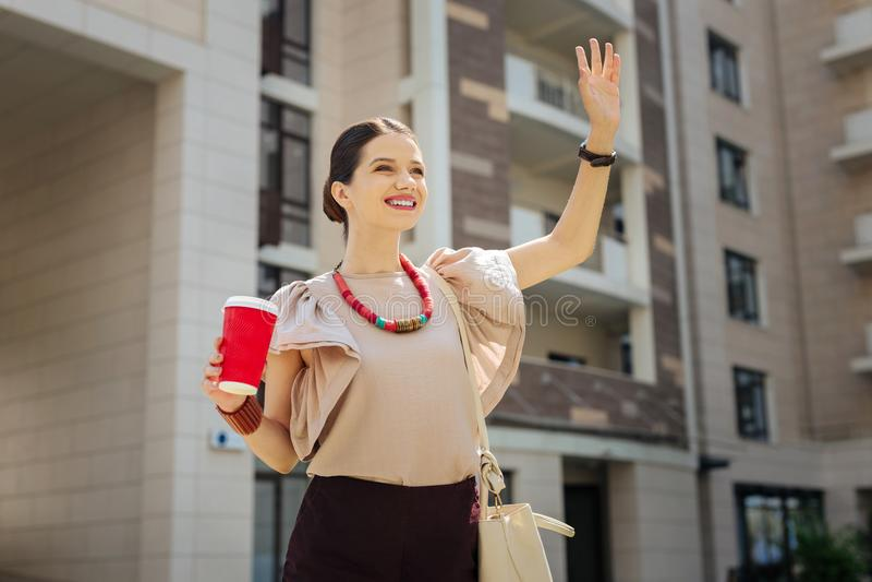 Mujer alegre agradable que saluda a su colega imagen de archivo libre de regalías