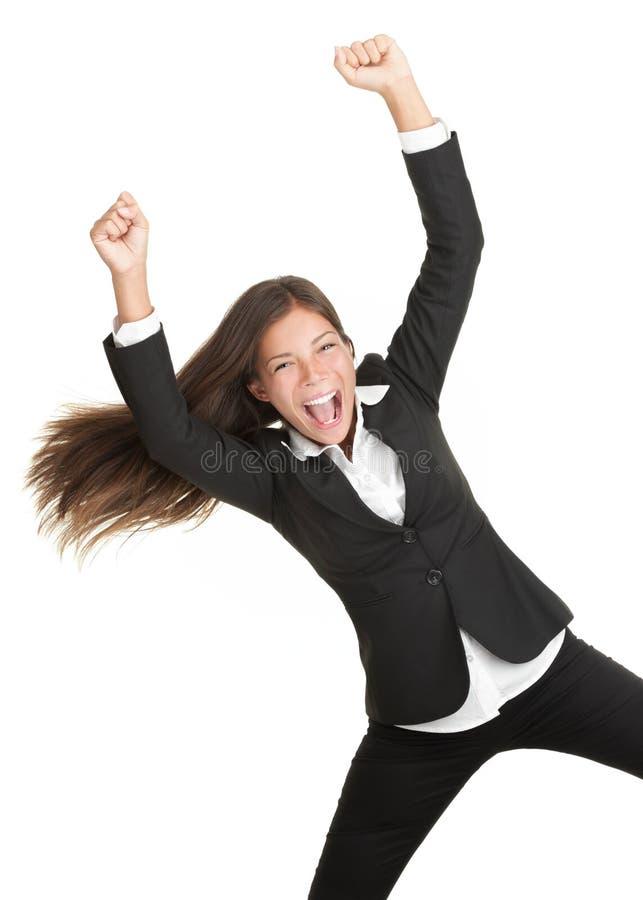 Mujer alegre del éxito aislada foto de archivo
