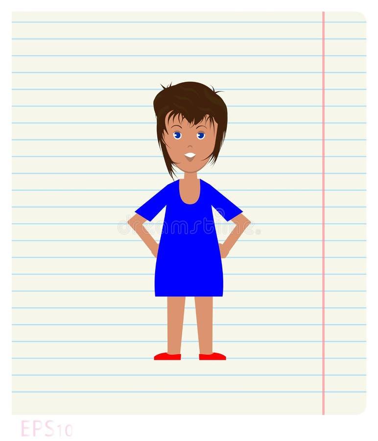 Mujer alegre dibujada en la hoja conforme a los campos, estilo plano del cuaderno stock de ilustración