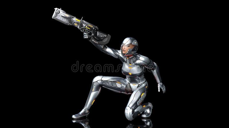 Mujer androide futurista del soldado en armadura a prueba de balas, la muchacha militar del cyborg armada con el arma del rifle d ilustración del vector