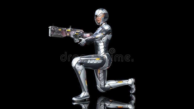 Mujer androide futurista del soldado en armadura a prueba de balas, la muchacha militar del cyborg armada con el arma del rifle d stock de ilustración
