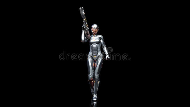 Mujer androide futurista en armadura a prueba de balas, muchacha militar del soldado del cyborg armada con el arma del rifle de l stock de ilustración