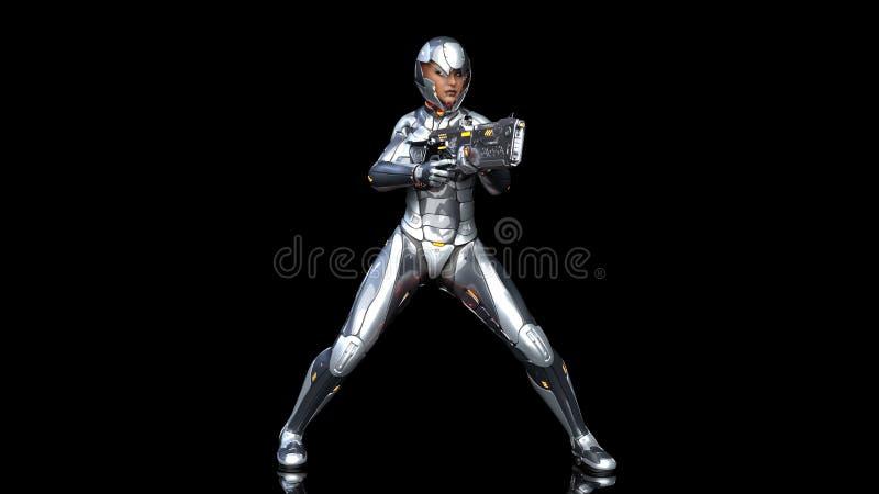 Mujer androide futurista en armadura a prueba de balas, muchacha militar del soldado del cyborg armada con el tiroteo del arma de stock de ilustración