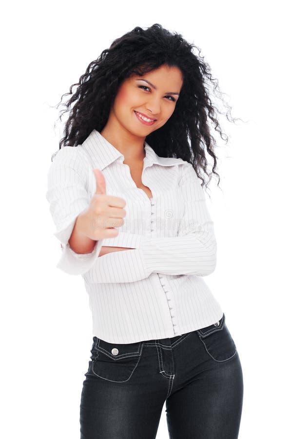 Mujer animada que muestra los pulgares para arriba imagenes de archivo