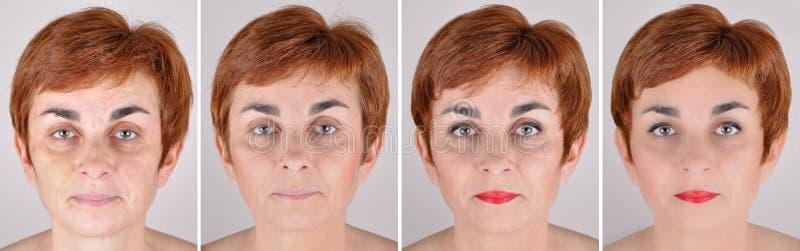 Mujer antes y después de aplicar maquillaje y retocar del ordenador imágenes de archivo libres de regalías