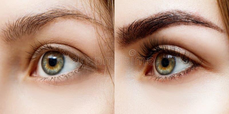 Mujer antes y después de las pestañas extendidas imagen de archivo