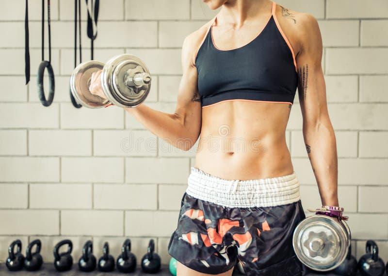 Mujer apta que hace el entrenamiento del bíceps fotografía de archivo libre de regalías