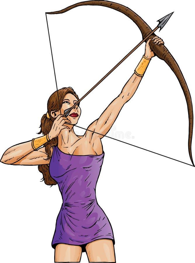 Mujer Archer stock de ilustración