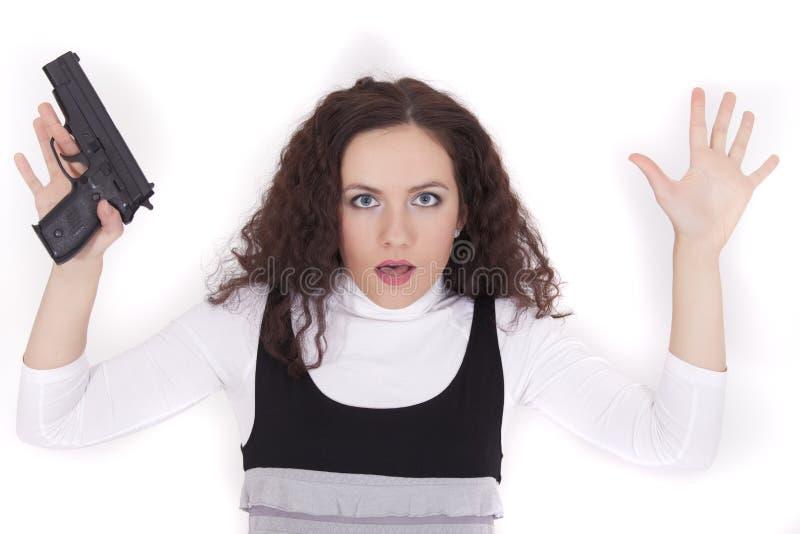 Mujer arrestada con el arma fotos de archivo libres de regalías