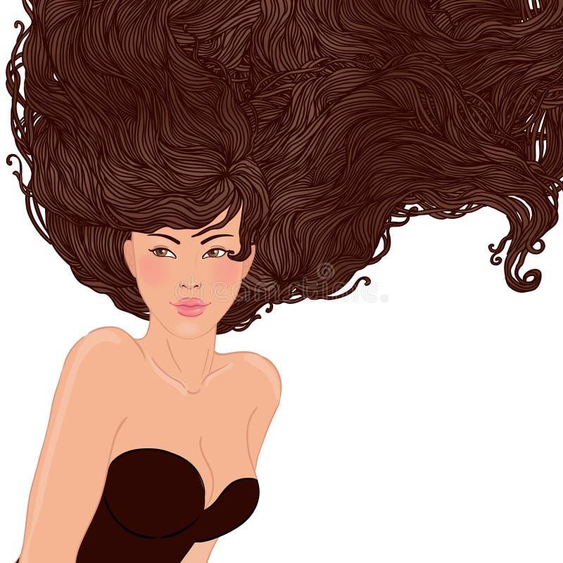 Mujer asiática bastante joven con el pelo largo hermoso stock de ilustración