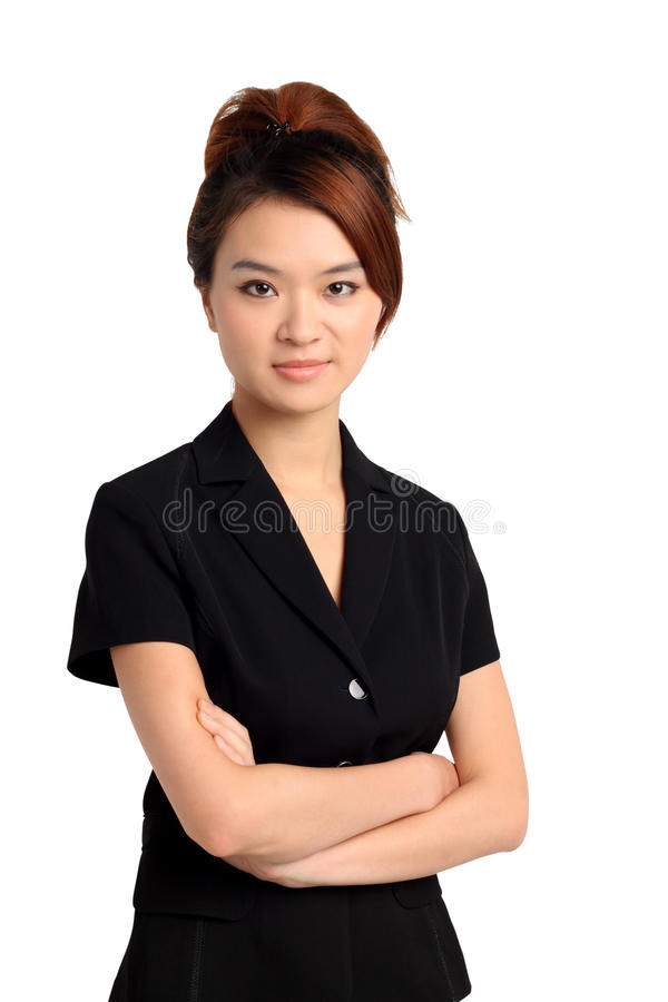 Mujer asiática con los brazos doblados imagen de archivo
