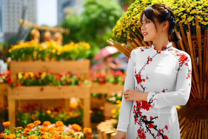 Mujer asiática de la belleza que lleva la ropa tradicional nacional, Vietna fotografía de archivo