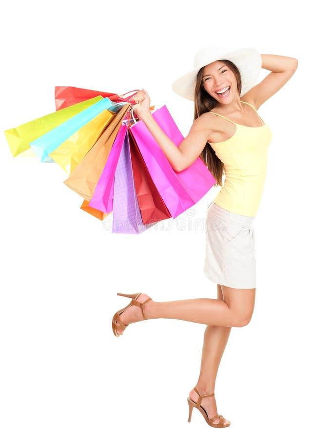 Mujer asiática de las compras feliz fotografía de archivo