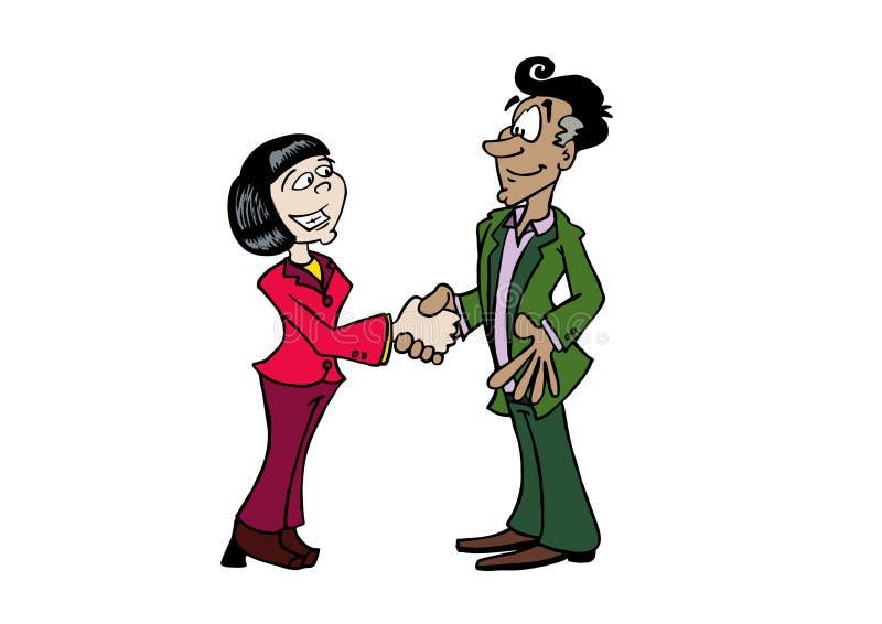 Mujer asiática del apretón de manos y hombre envejecido medio ilustración del vector