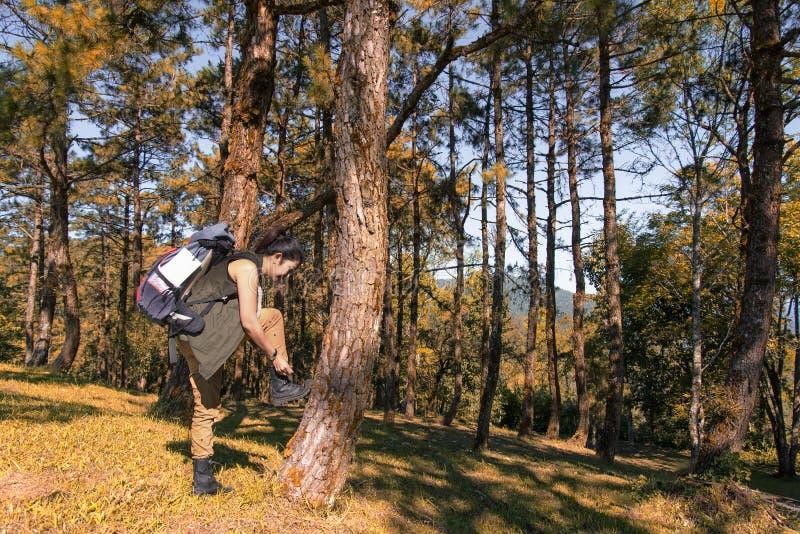Mujer asiática del caminante que se coloca el la estación del otoño del bosque Viajero con la mochila en alza en naturaleza imagen de archivo libre de regalías