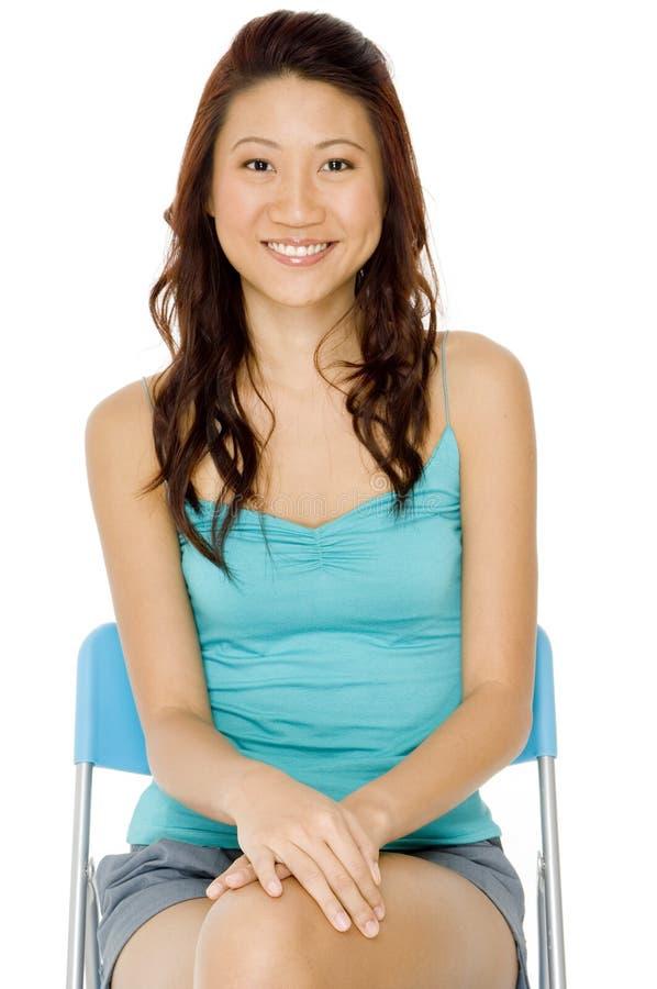 Mujer asiática en azul foto de archivo