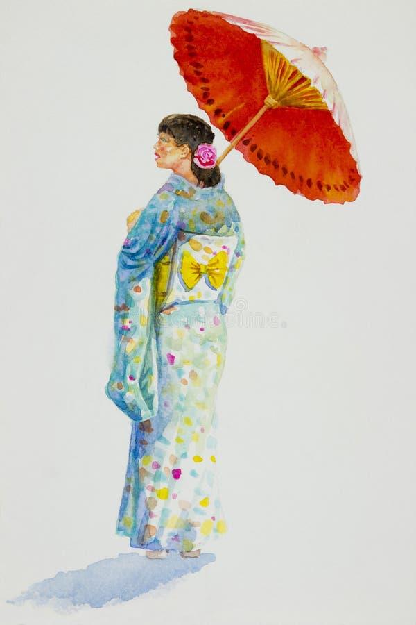 Mujer asiática en Kyoto Japón ilustración del vector