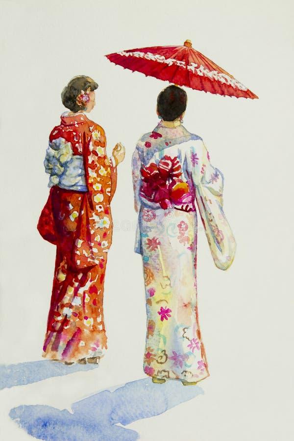 Mujer asiática en Kyoto Japón stock de ilustración
