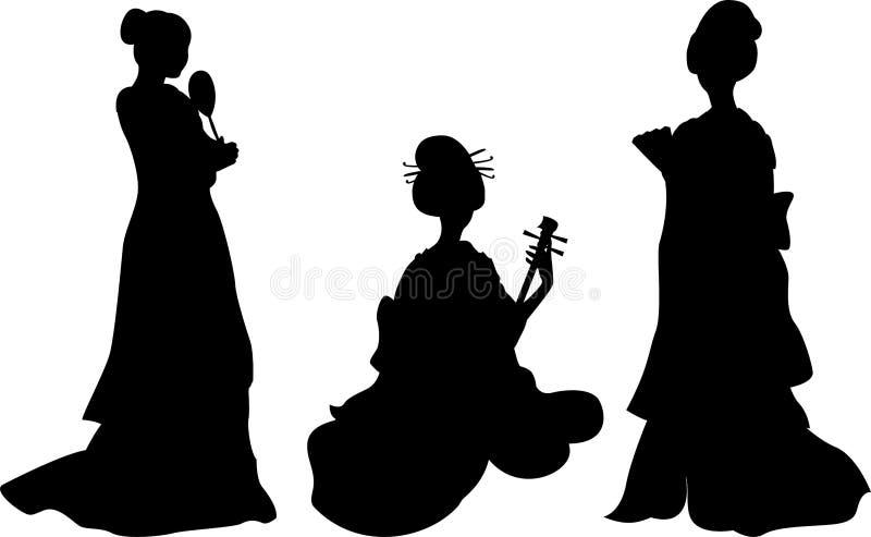 Mujer asiática, geisha ilustración del vector
