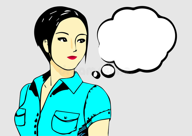 Mujer asiática joven que busca la derecha ilustración del vector