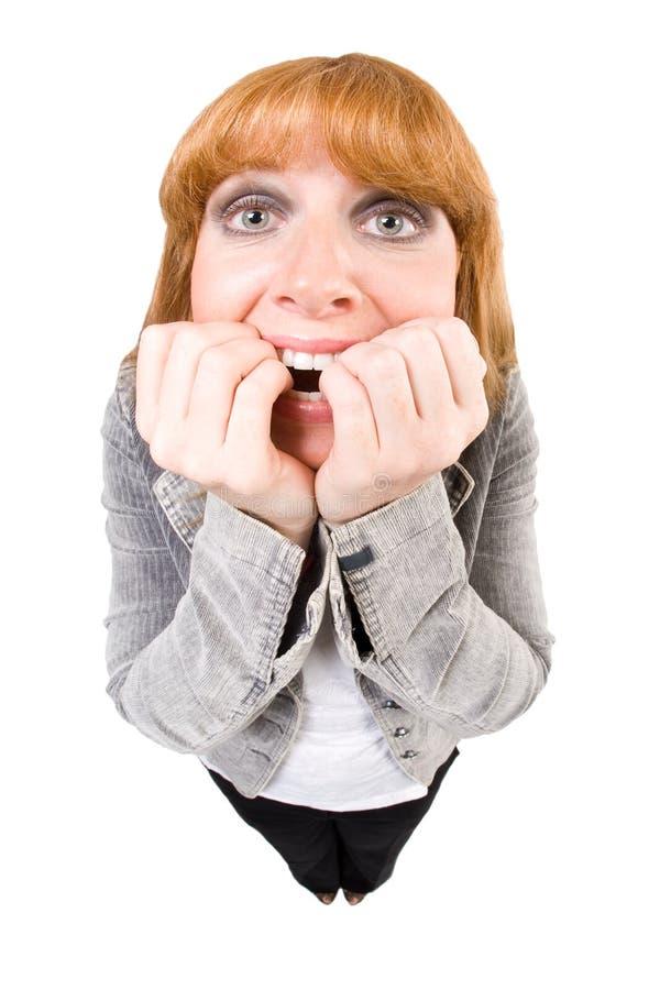 Mujer asustada foto de archivo