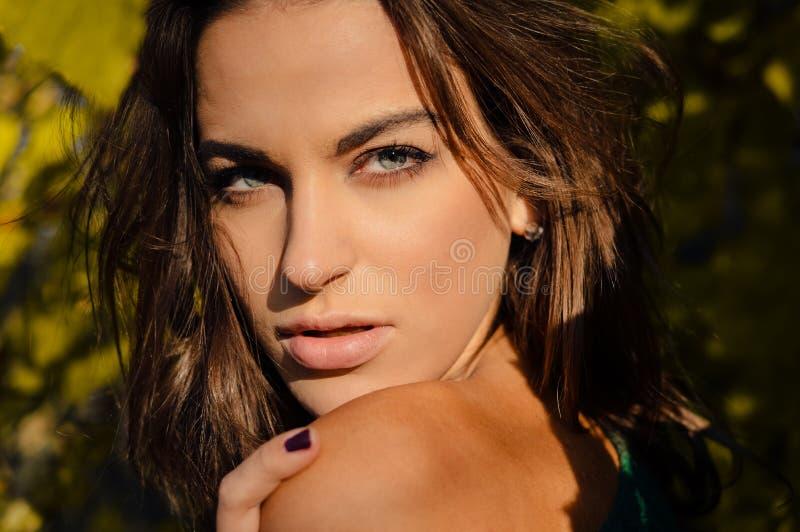 Mujer atractiva con el hombro desnudo en soleado borroso imagen de archivo libre de regalías