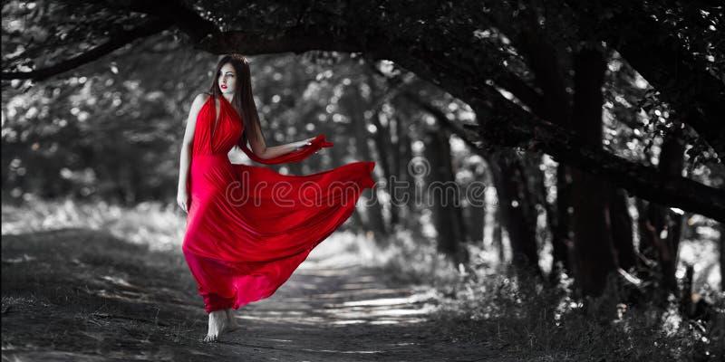 Mujer atractiva con el pecho desnudo en vestido rojo en bosque de hadas foto de archivo libre de regalías