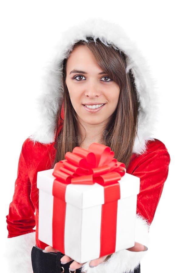 Mujer atractiva con el sombrero de Santa fotografía de archivo