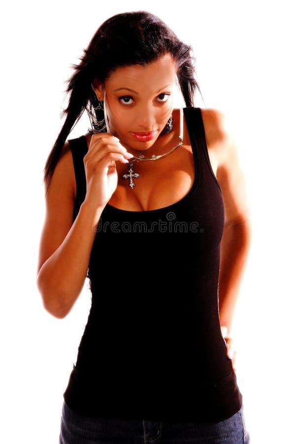 Mujer atractiva del afroamericano foto de archivo